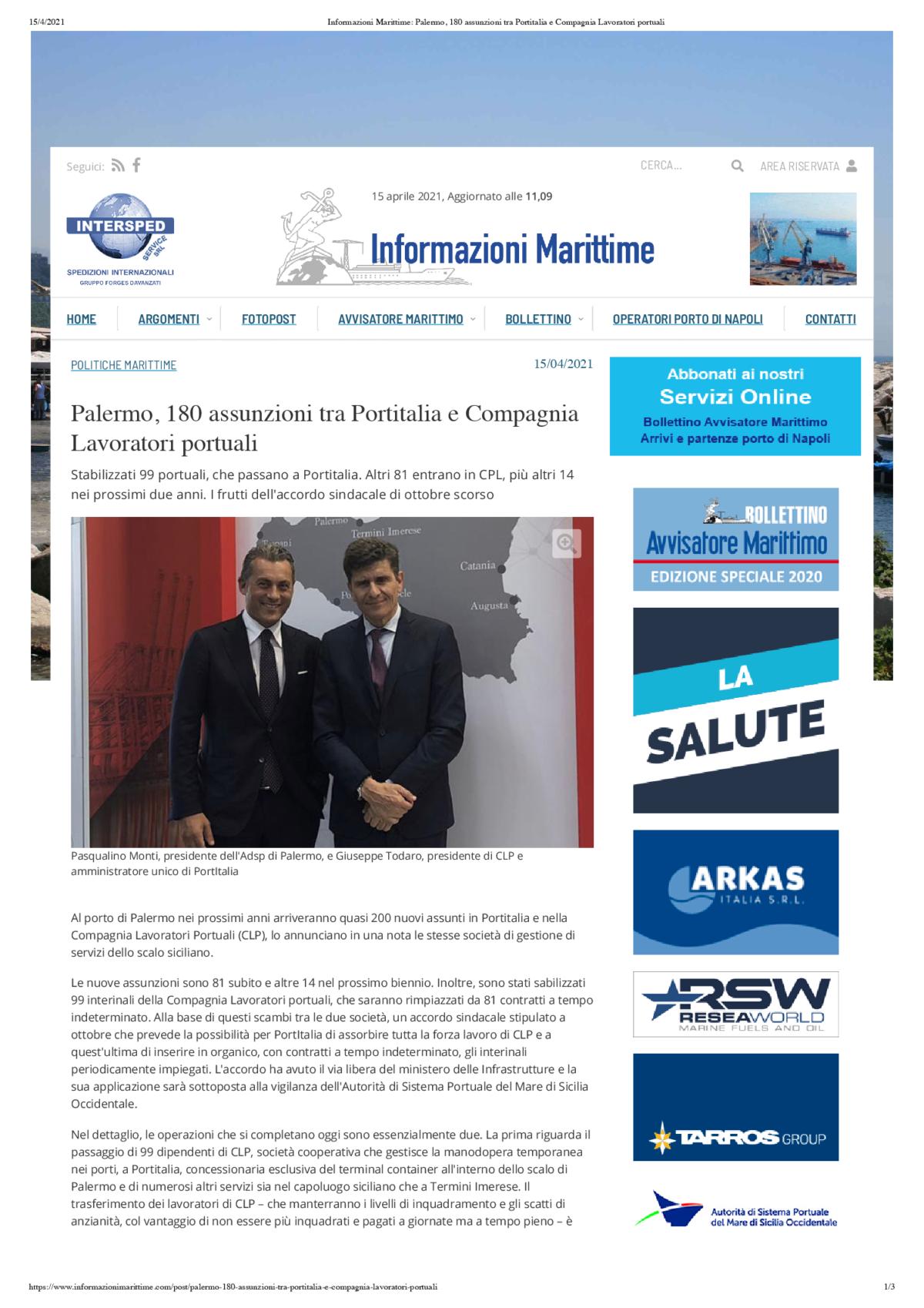 Informazioni Marittime_ Palermo, 180 assunzioni tra Portitalia e Compagnia Lavoratori portuali