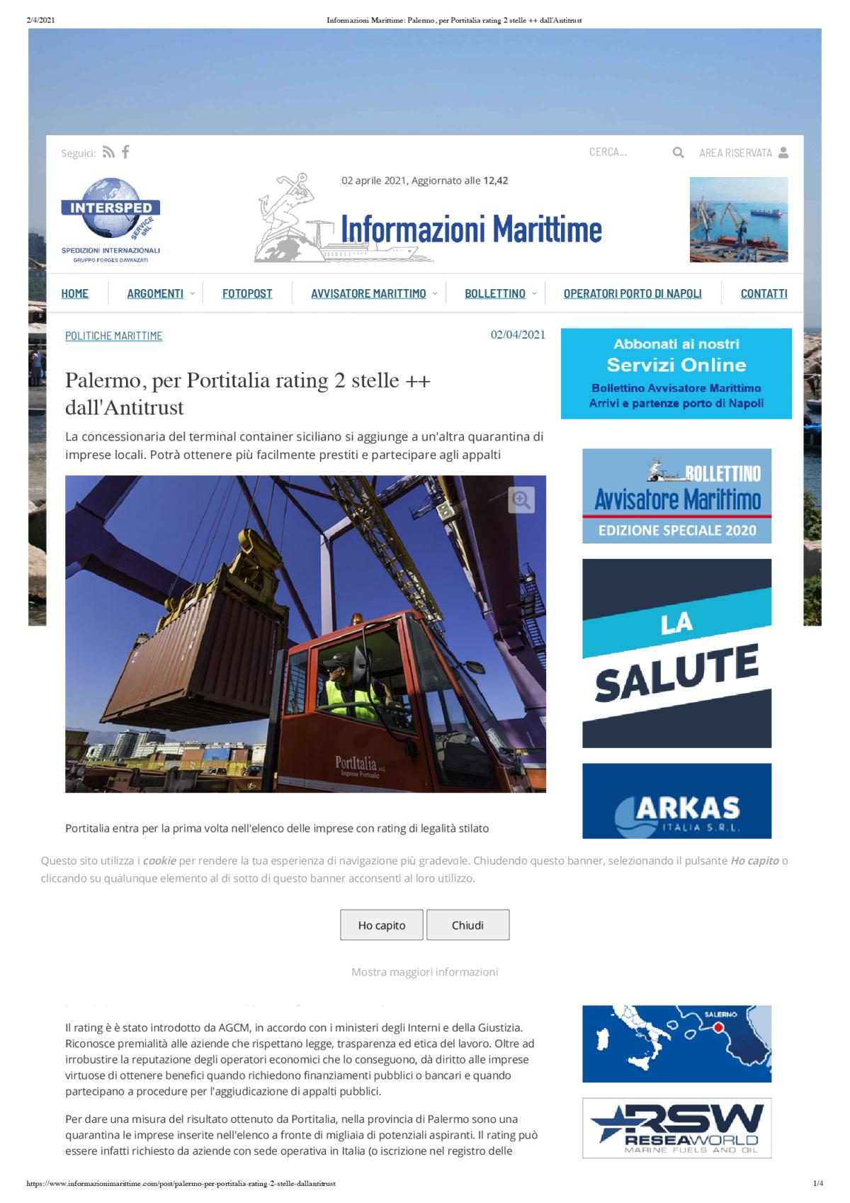Informazioni Marittime_ Palermo, per Portitalia rating 2 stelle dall'Antitrust