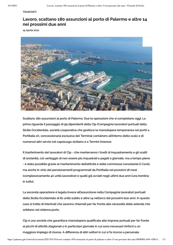 Lavoro, scattano 180 assunzioni al porto di Palermo e altre 14 nei prossimi due anni – Giornale di Sicilia
