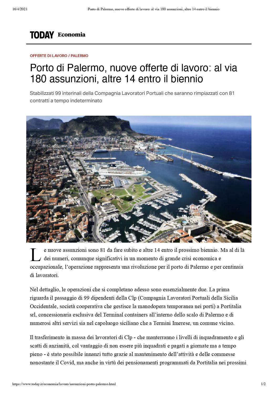 Porto di Palermo, nuove offerte di lavoro_ al via 180 assunzioni, altre 14 entro il biennio